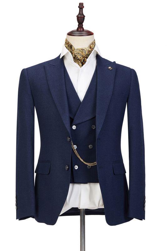 Cody Dark Blue Three-Piece Fashion Peaked Lapel Wedding Men Suits Sale