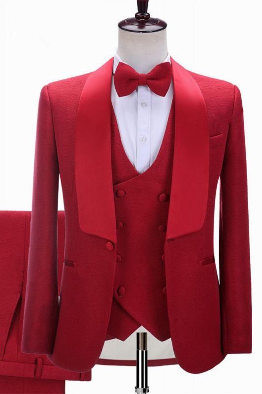 Steven Red Three-Piece Shawl Lapel Slim Fit Wedding Suits