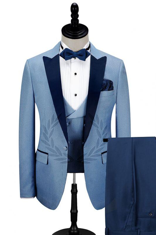 Dark Navy Peak Lapel Men's Prom Suits | Stylish Blue Wedding Tuxedos