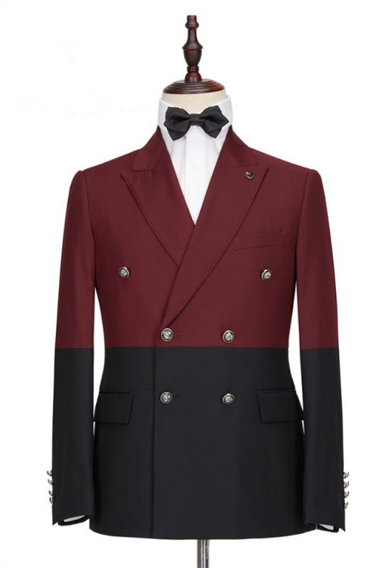 Emmanuel Fashion Burgundy and Black Double Breasted Peaked Lapel Men Suits for Prom