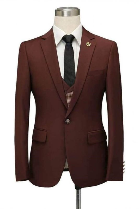 Javier Burgundy Notched Lapel Fitted Men Suits for Prom