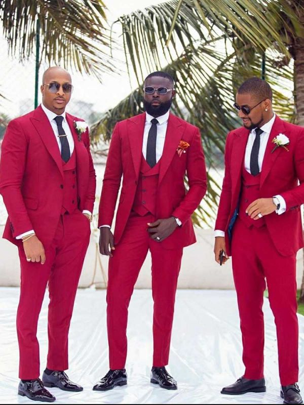 Custom Made Red Slim Fit Peaked Lapel Wedding Groomsmen Suit with 3 Pieces