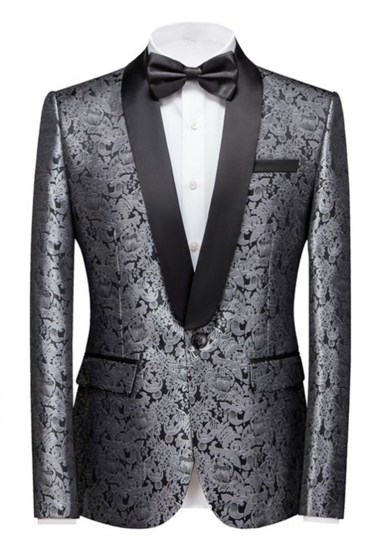 Levi Silver Shawl Lapel Stylish One Button Jacquard Weddig Tuxedo for Men
