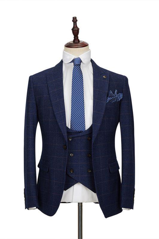 Classic Blue Plaid Peak Lapel 3 Piece Men's Suit with Double Breasted Waistcoat