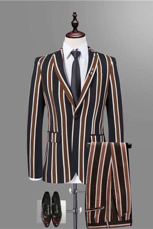 Jeremy Stylish Black Striped Men Suits for Prom