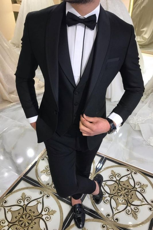 3 Piece Black Men's Suits for Groom | Shawl Lapel Wedding Tuxedos with Waistcoat