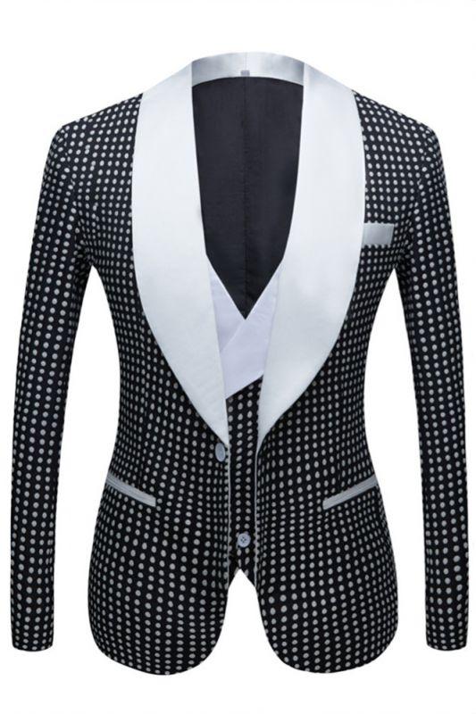 Shane Black Dot Slim Fit Shawl Lapel Wedding Tuxedo for Men