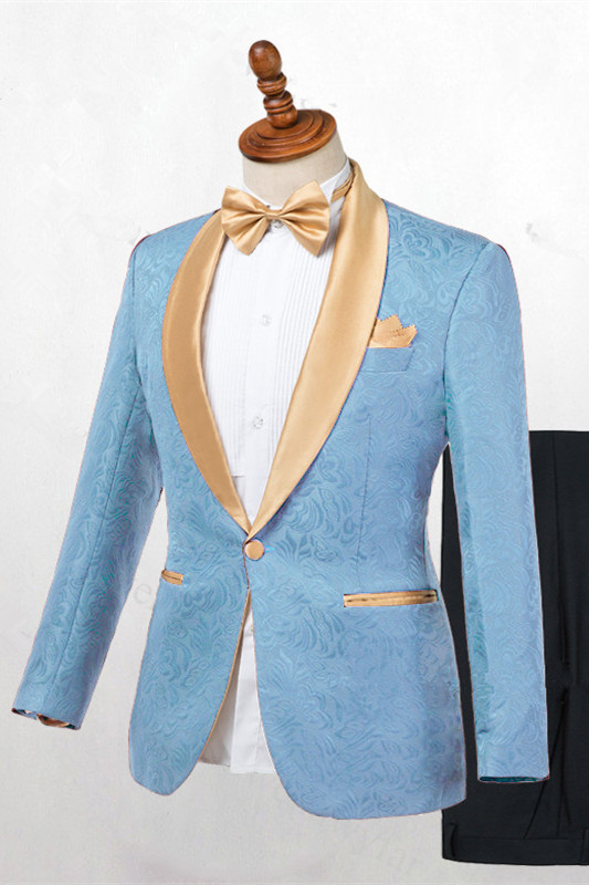 Kyle Blue One Button Shawl Lapel Best Fitted Wedding Suits for men