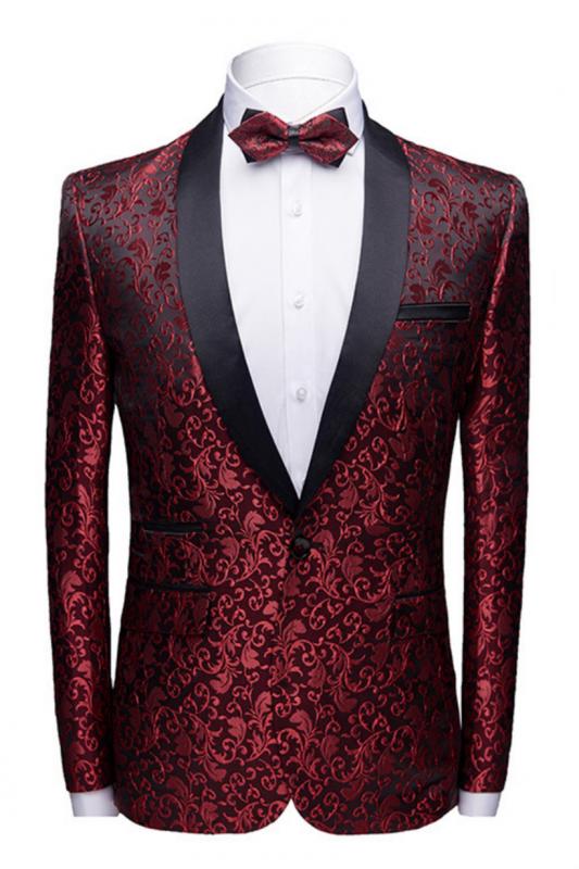 Modern Burgundy Jacquard Wedding Tuxedos | Shawl Lapel Black Satin Men's Prom Suits Cheap-Toby