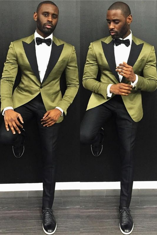 Stylish One Button Slim Fit Prom Men Suit with Black Lapel
