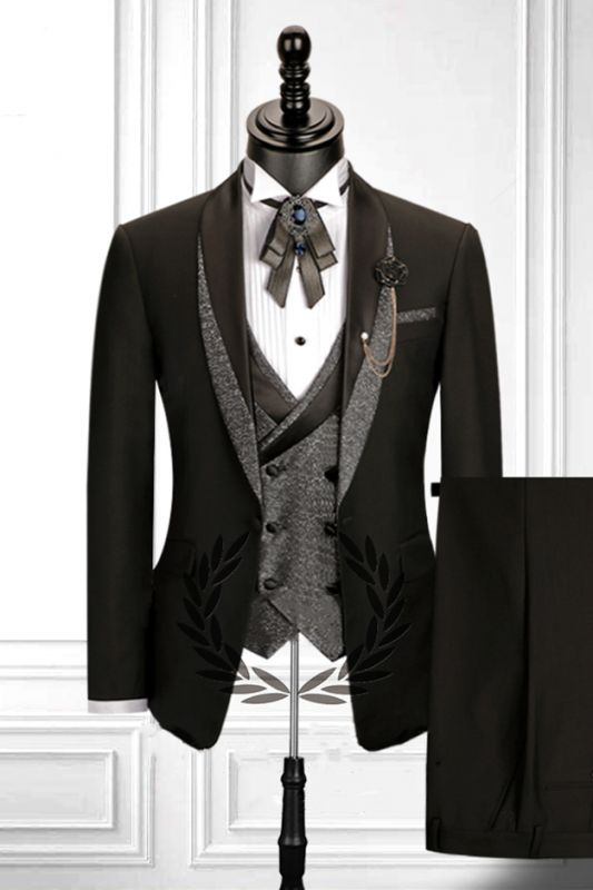 Stitching Shawl Lapel Black 3 Piece Men's Suit with Double Breasted Waistcoat