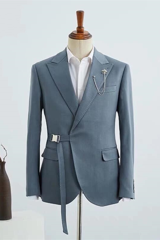 Stylish Morandi Dust Green Peak Lapel Adjustable Buckle Men's Casual Suit for Summer