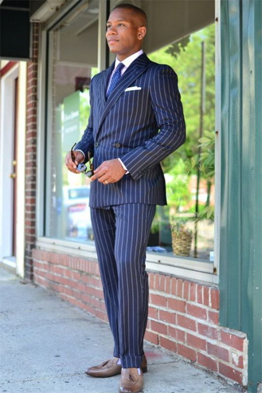 Adam Dark Blue Double Breasted Striped Formal Business Men Suits