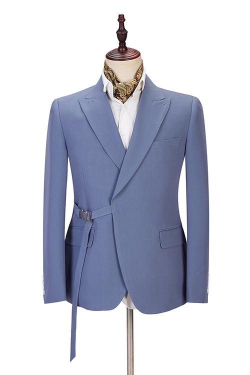 Preston Ocean Blue Peaked Lapel Slim Fit Men Suits for Prom