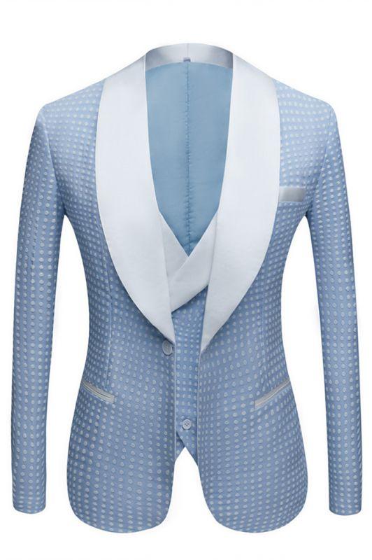 Edwin Sky Blue Fashion Dot Wedding Groom Suits with Shawl Lapel