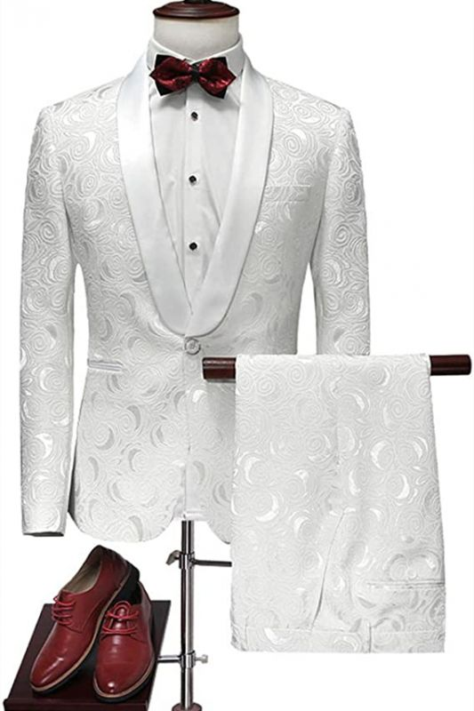 Latest White Jacquard Suits for Wedding Tuxedos Groom Wear | Shawl Lapel Groomsmen Outfit Man Blazers 3Piece