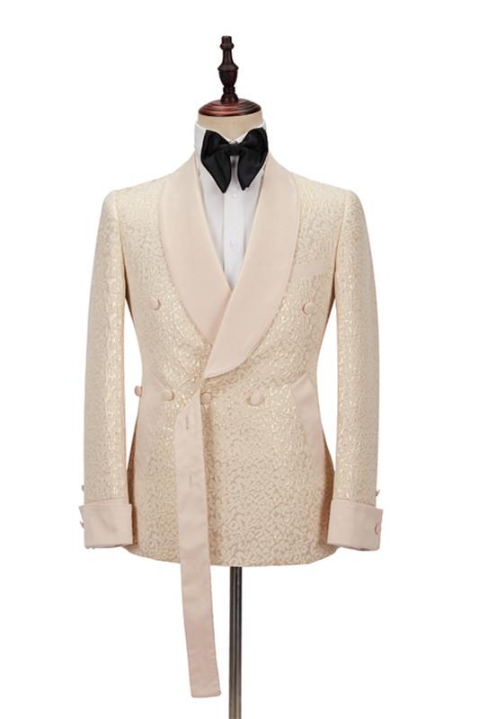 Seth Champagne Shawl Lapel Slim Jacquard Wedding Men Suits