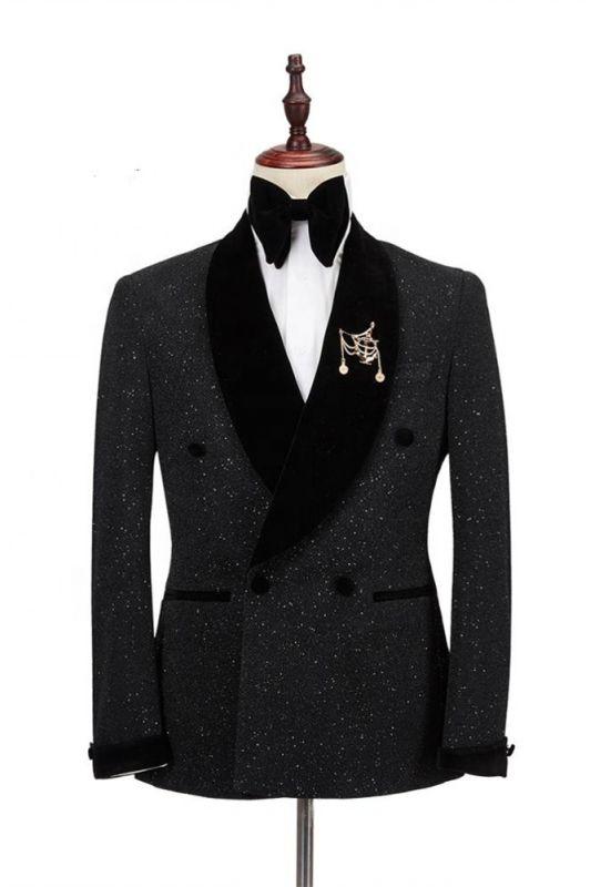 Edward Shawl Lapel Double Breasted Sparkle Black Custom Made Wedding Suits