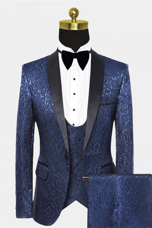 Gentle Dark Navy Damask Floral Men's Wedding Tuxedos Prom Suits with Black Satin Lapel