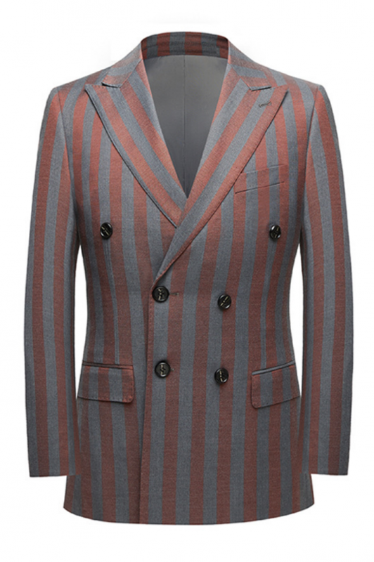 Red and Gray Stripes Formal Men's Suits | Modern Double Breasted Prom Suits