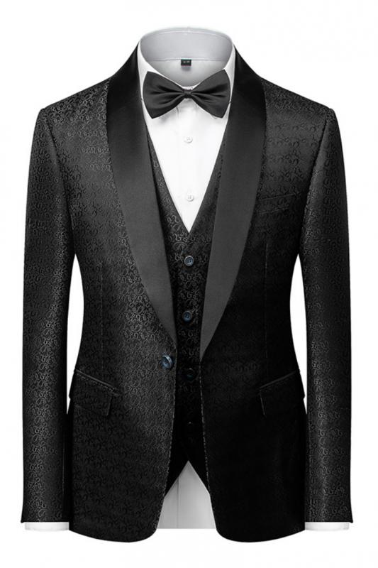 Classic Black Satin Shawl Lapel Jacquard Suits Men's Wedding Tuxedos