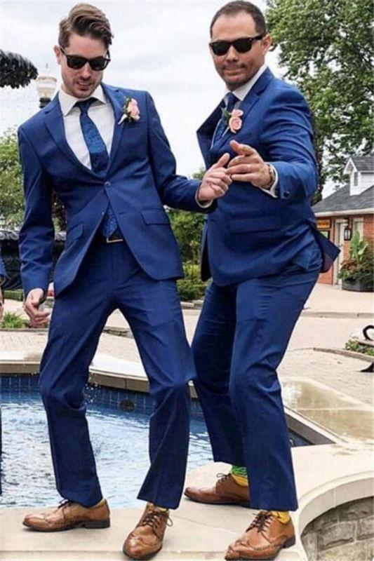 Brody Navy Blue Notched Lapel Stylish Wedding Groomsmen Suits