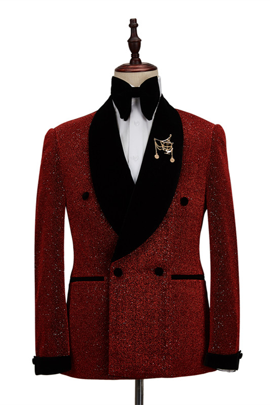 Cristian Sparkle Red Black Shawl Lapel Double Breasted Fashion Wedding Men Suits