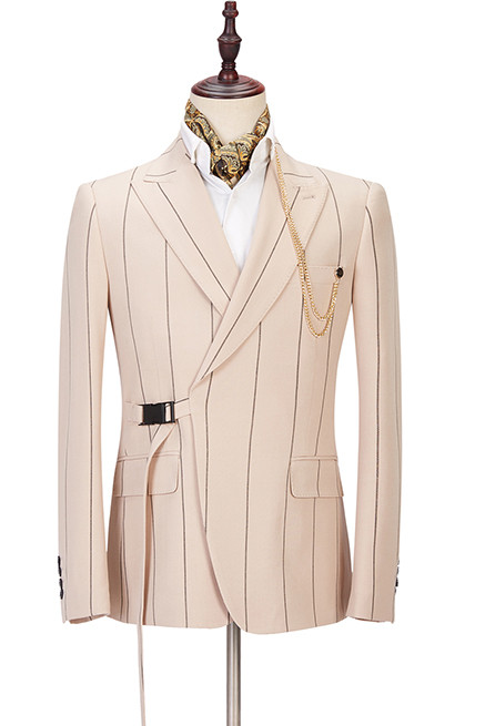 Ivan Light Champagne Fashion Striped Peaked Lapel Prom Men Suits