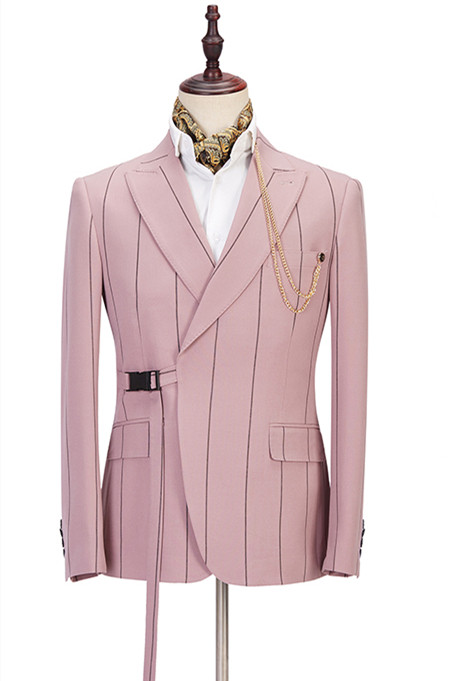 Nolan Pink Striped Peaked Lapel Fitted Men Suits Online