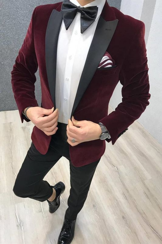 2 Piece Burgundy Velvet Wedding Suits | Black Satin Peak Lapel Wedding Tuxedos