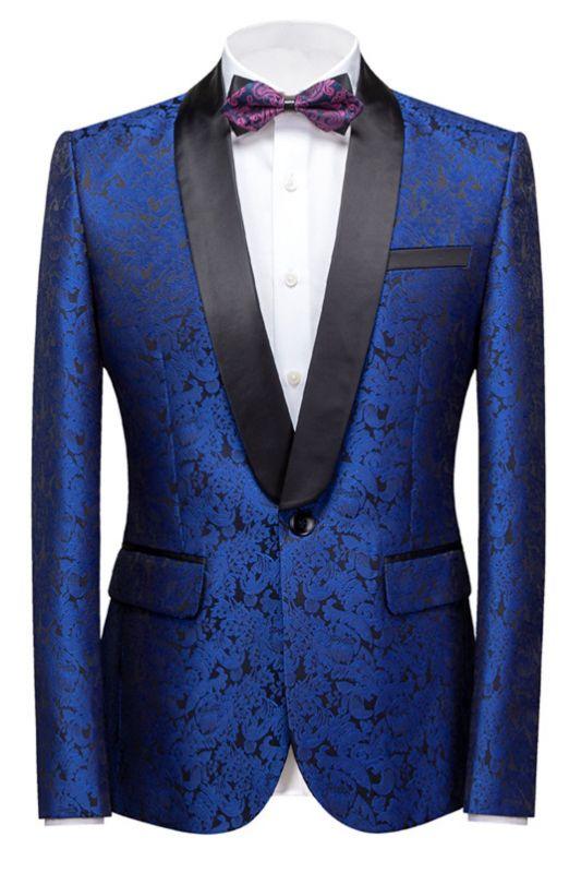 Kaleb Royal Blue Slim Fit One Button Jacquard Wedding Men Suits