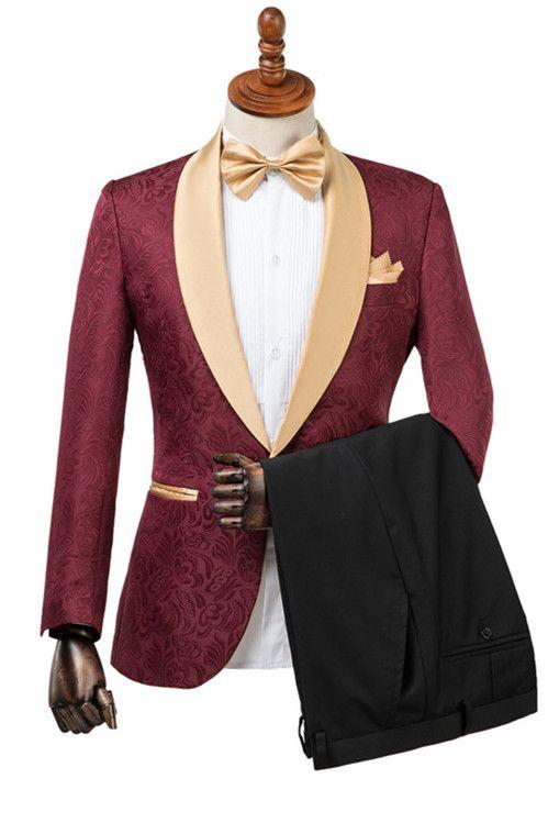 Dominic Stylish Burgundy Slim Fit Jacquard Wedding Suit for Men