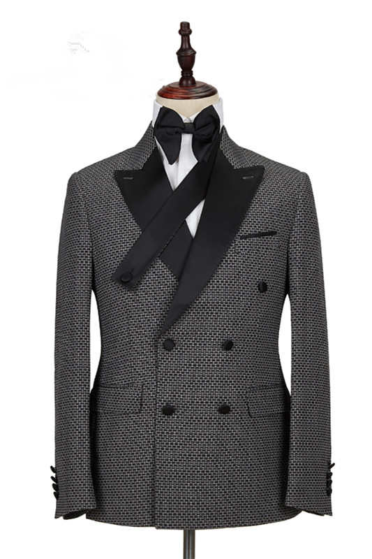 Grant Black Plaid Peaked Lapel Double Breasted Tailored Men Suits