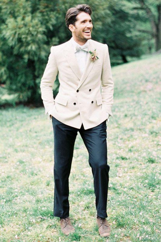 Ivory Wedding Tuxedos For Groom | 2 Pieces Set Groomsmen Best Man Suit Bridegroom