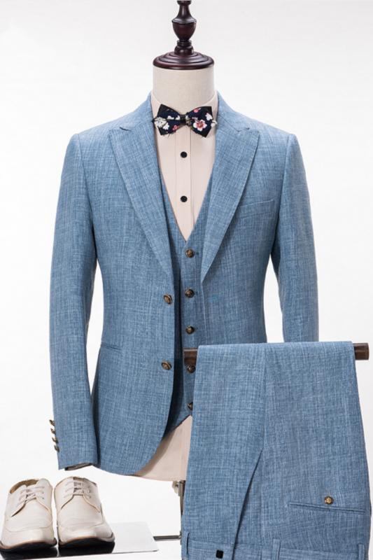 Stylish Blue Linen Suit For Wedding | Peak Lapel Summer Groom and Groomsmen Suits