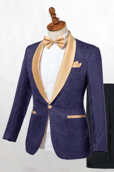 Colton Dark Blue Jacquard Shawl Lapel Wedding Suits