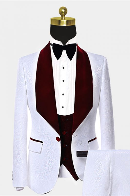 Burgundy Velvet Lapel Prom Suits Cheap | White Jacquard Chic Wedding Tuxedos
