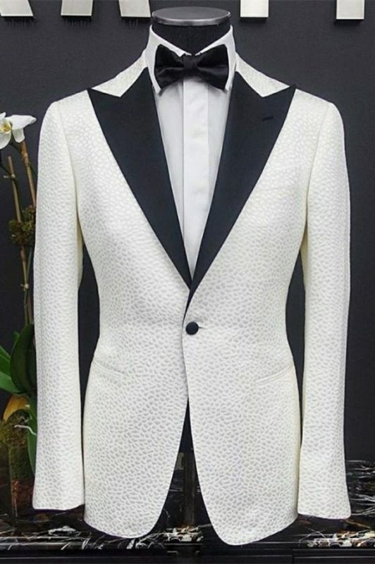 Peyton White Peaked Lapel One Button Slim Fit Wedding Groom Suits