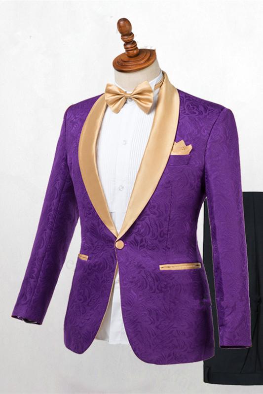 Antonio Purple One Button Gold Lapel Wedding Men Suit Online