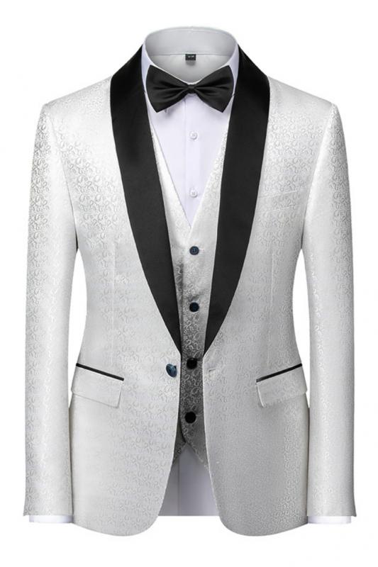 Gentle Black and White Men's Wedding Tuxedos | Satin Shawl Lapel Jacquard Prom Suits