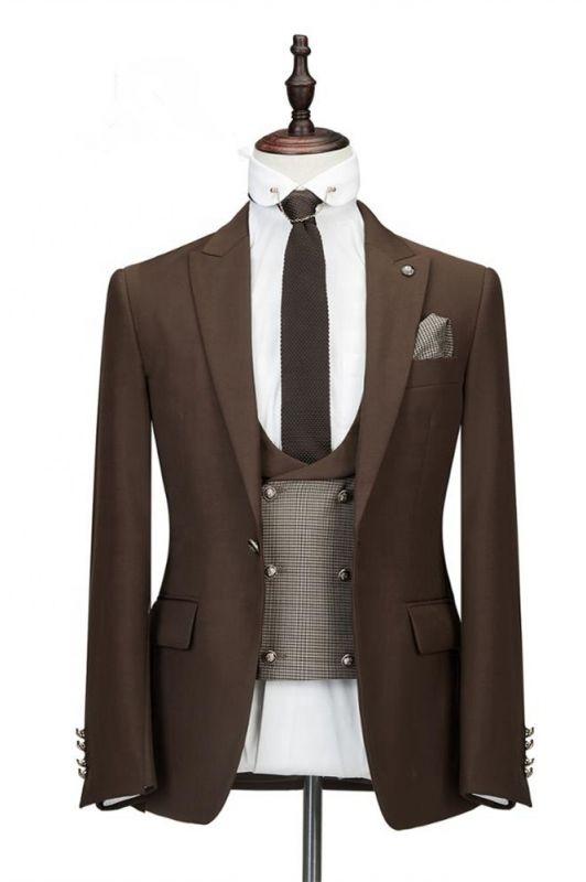 Gage Brown Three Pieces Tailored Peaked Lapel Slim Fit Wedding Groom Suits