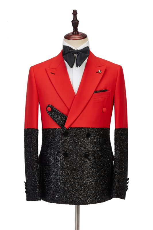 Latest Peak Lapel Bright Red Stitching Sparkle Black Fashion Men's Suit