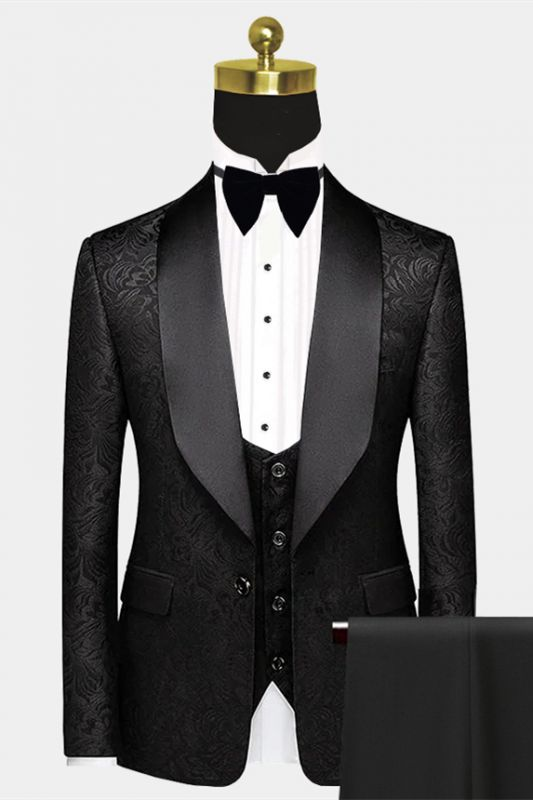 Black Satin Shawl Lapel Prom Suits | One Button Popular Jacquard Wedding Tuxedos