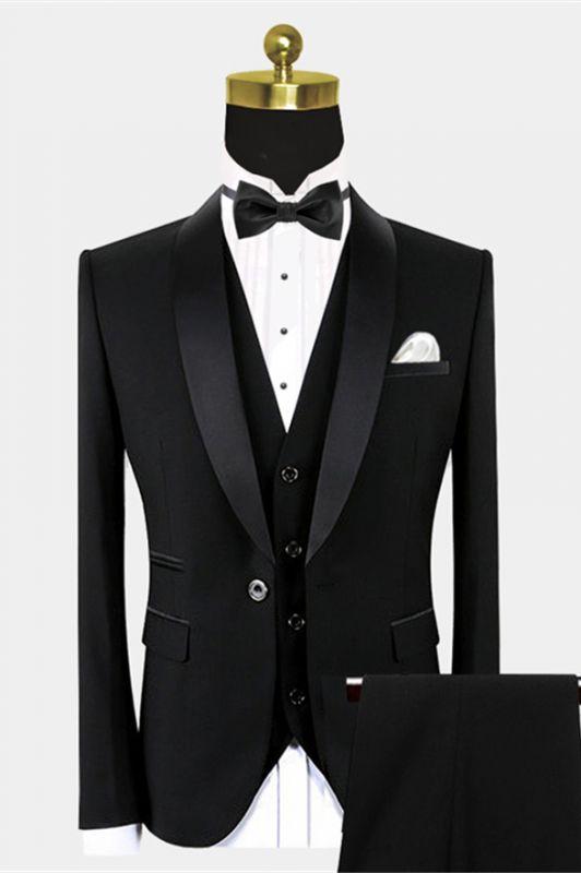 Traditional Black Suits for Groom | Black Satin Shawl Lapel Wedding Tuxedo for Groomsmen - Vincent