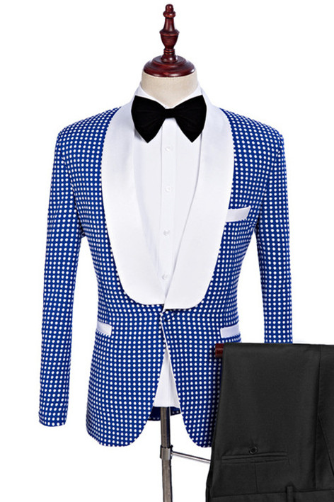 Timothy Blue One Button Tailored Shawl Lapel Wedding Tuxedo for Men