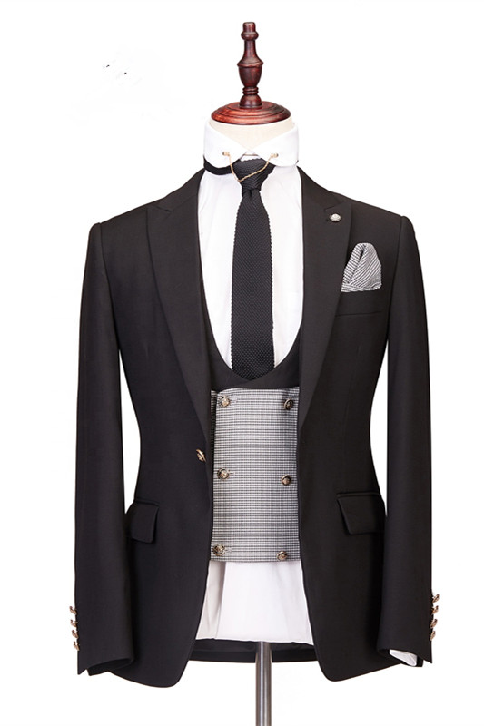 Collin Peaked Lapel Three-Piece Best Fitted Custom Made Men Suits for Wedding