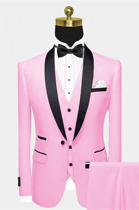 Slim Fit Chic Candy Pink Black Satin Shawl Lapel Prom Suit for Men
