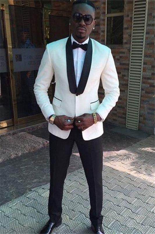 Jaden Handsome White Shawl Lapel One Button Wedding Suits
