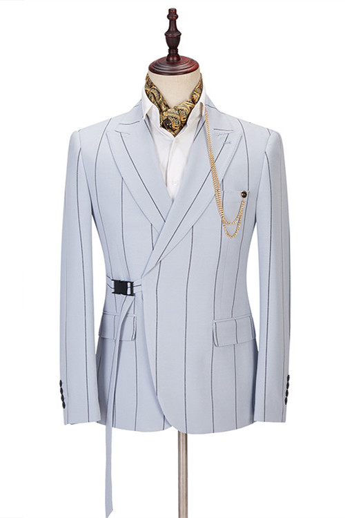 Damian Handsome Striped Peaked Lapel Men Suits Online