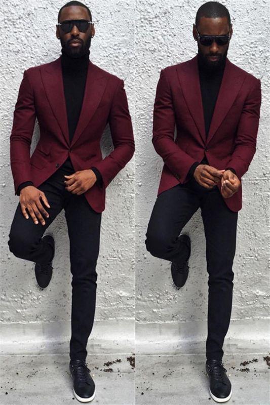 Blake Burgundy Peaked Lapel Slim Fit Bespoke Prom Men Suits